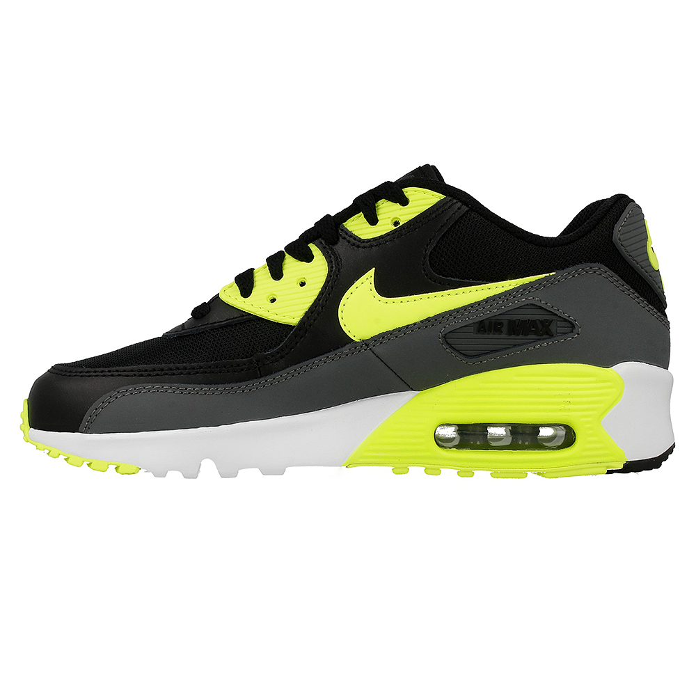 nike air max 90 mesh gs 833418 006 black light green. Black Bedroom Furniture Sets. Home Design Ideas