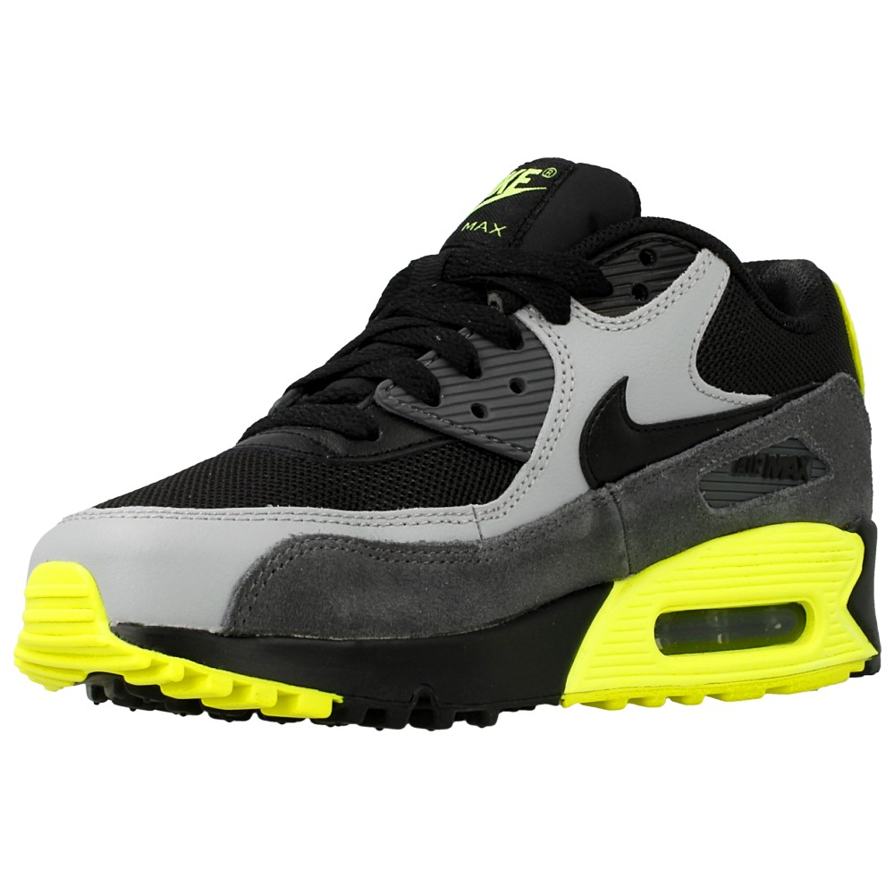 nike air max 90 mesh gs 724824 002 black grey yellow. Black Bedroom Furniture Sets. Home Design Ideas