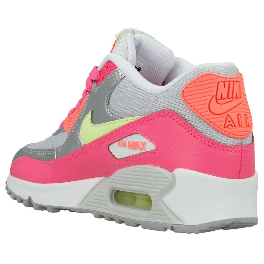 nike air max 90 mesh gs 724855 001 pink silver yellow. Black Bedroom Furniture Sets. Home Design Ideas