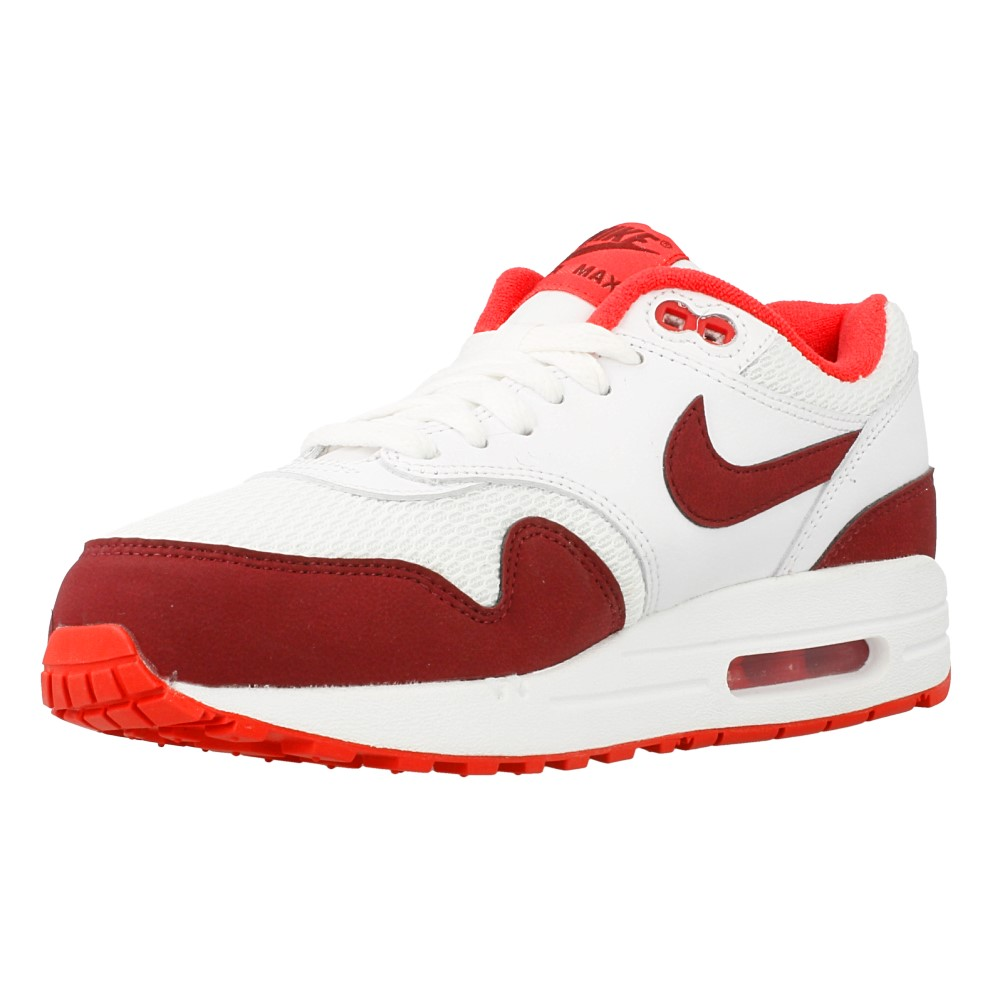 nike wmns air max 1 essential 599820 110 white dark red. Black Bedroom Furniture Sets. Home Design Ideas